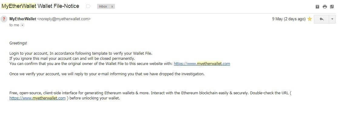 mew scam mail